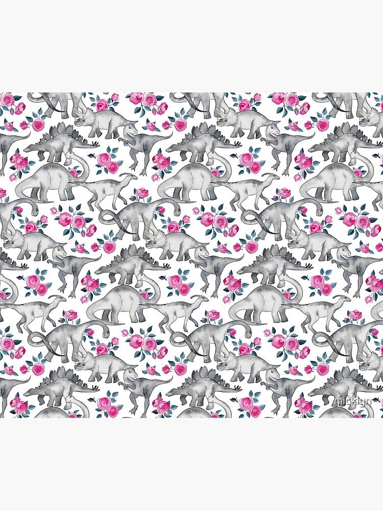 Dinosaurios y rosas - blanco de micklyn