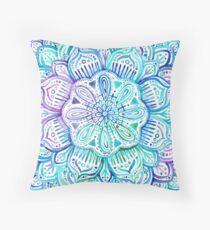 Iridescent Aqua and Purple Watercolor Mandala  Throw Pillow
