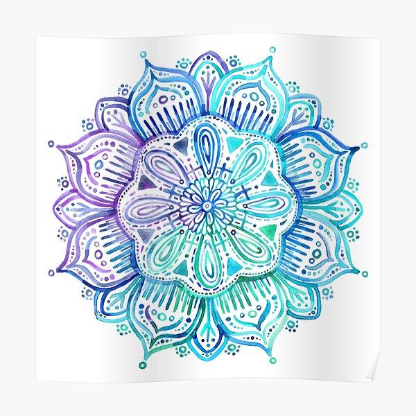Iridescent Aqua and Purple Watercolor Mandala  Poster