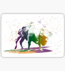 Bison in a colour storm Sticker