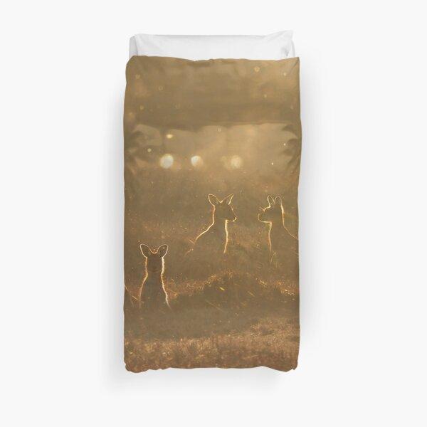 Kangaroos at sunset Duvet Cover