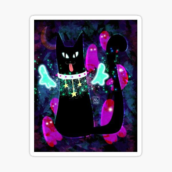 Black Cat White Collar Sticker