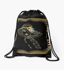 Gatsby Art-Deco Black &Gold Drawstring Bag