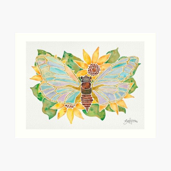 Cicada on Sunflowers Art Print