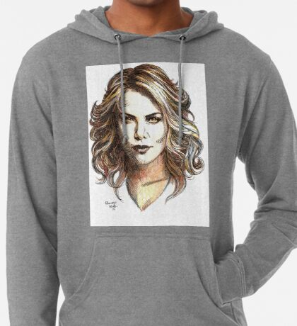 Drawing of  Charlize the movie star Lightweight Hoodie
