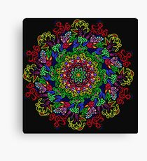 berries and roses mandala Canvas Print