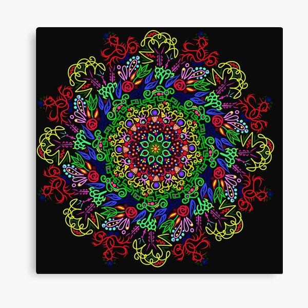 berries and roses mandala Canvas Print