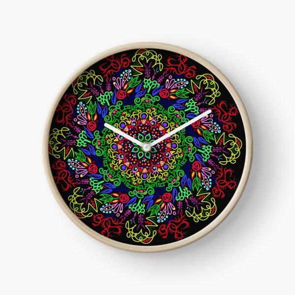 berries and roses mandala Clock