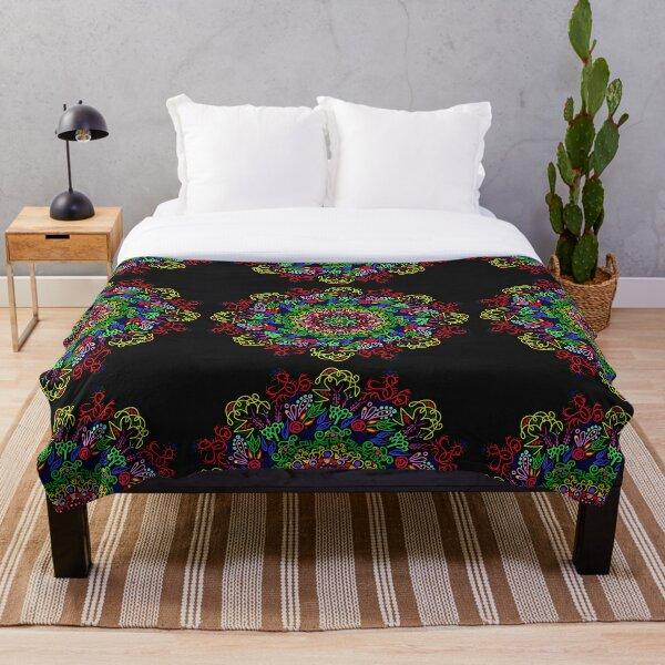 berries and roses mandala Throw Blanket