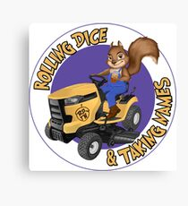 RDTN Squirrel on a Lawn Mower Canvas Print