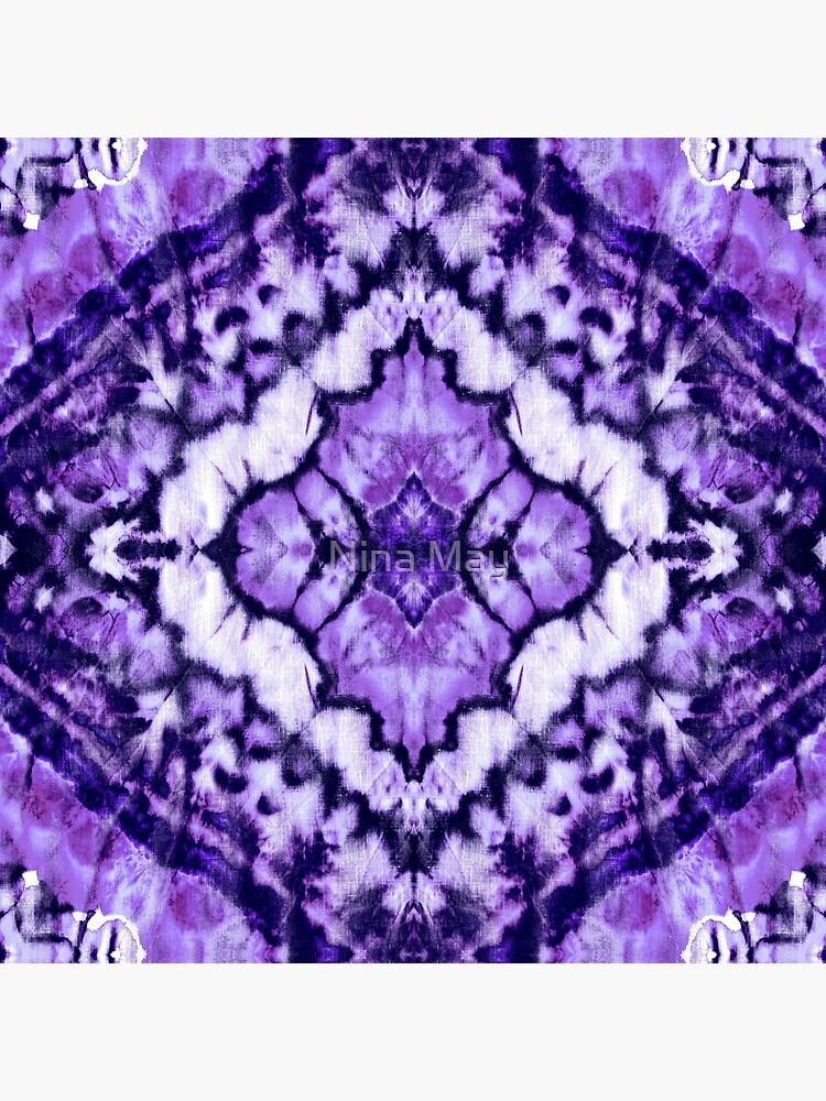 Linen Tie Dye Purple Ikat by ninabmay