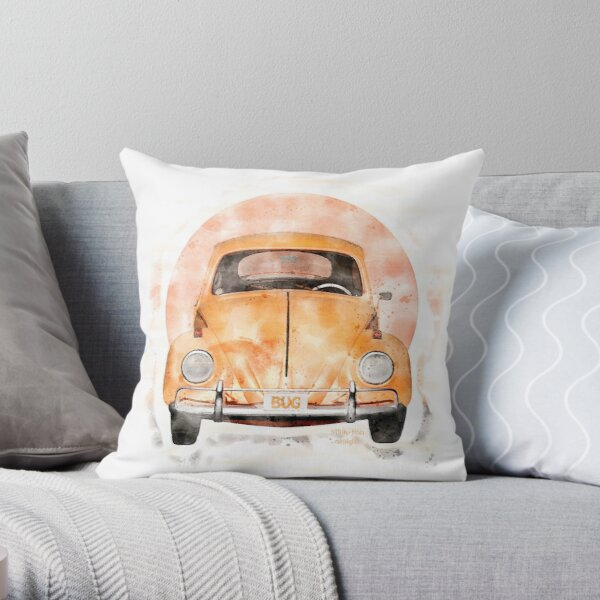 Personalised VW Beetle Hippy Pink Classic Car Vintage Cushion Custom Canvas Gift