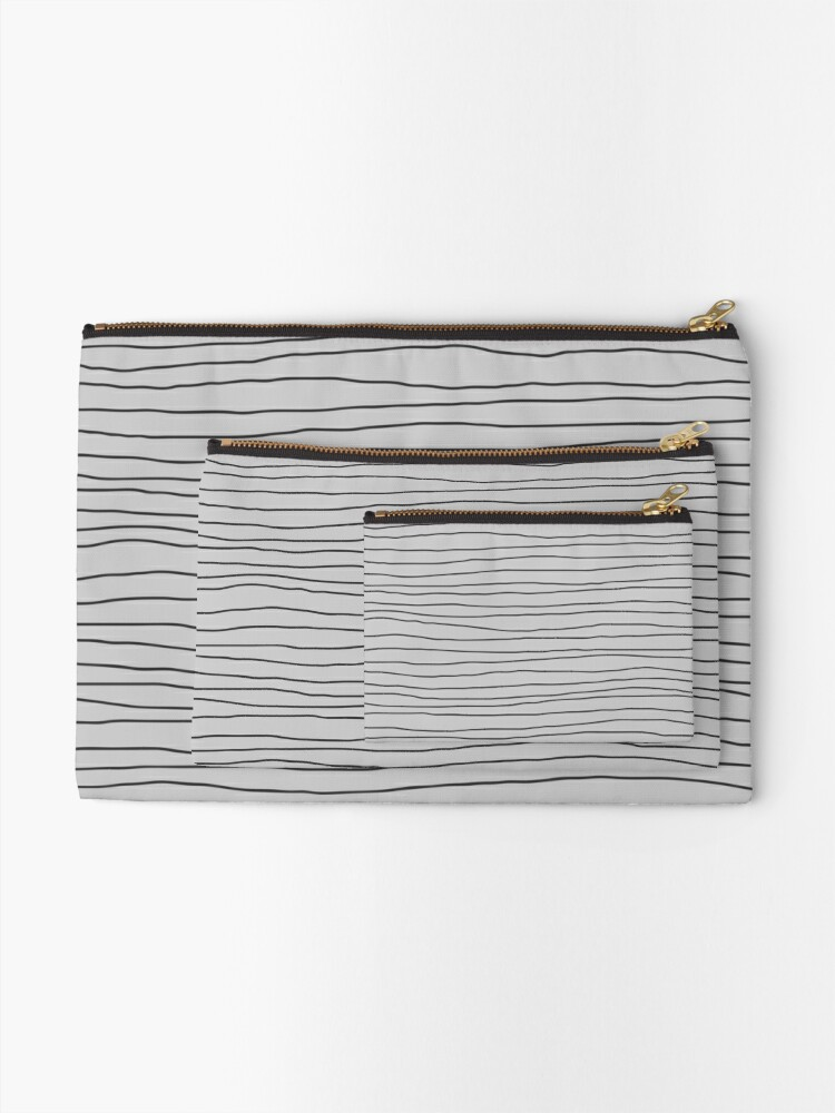 Alternate view of Hand Drawn Lines - Gray Zipper Pouch