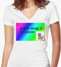 Camiseta entallada de cuello en V El diseño gráfico es mi pasión por el arcoíris cómico sans