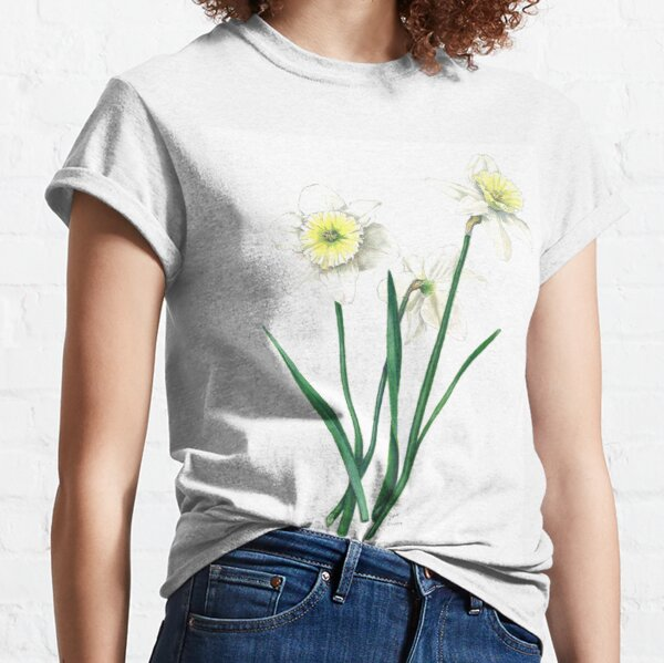 "White Daffodils - ""Ice Follies"" Botanical Illustration Classic T-Shirt"