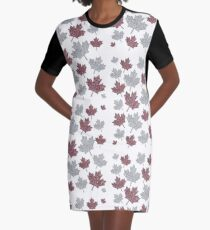 Canadian Maple Leaves Graphic T-Shirt Dress