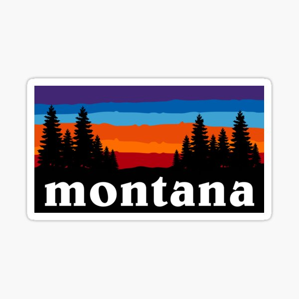 Montana Forest Camping Ski Snowboard Hiking Mountain Big Sky Bridger Bowl Sunset Gift Ideas Sticker