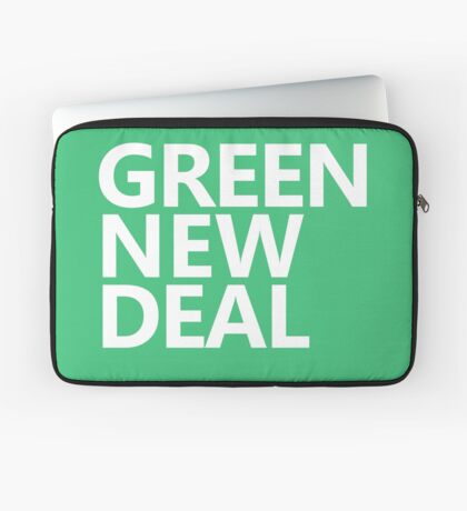 Green New Deal - White Text Laptop Sleeve