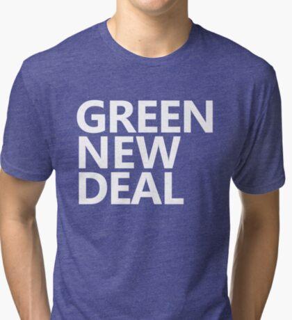 Green New Deal - White Text Tri-blend T-Shirt