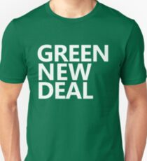 Green New Deal - White Text Slim Fit T-Shirt