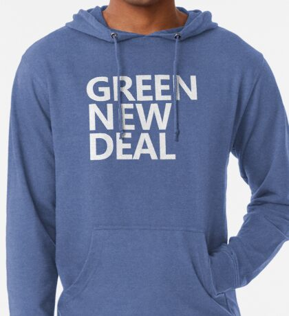Green New Deal - White Text Lightweight Hoodie