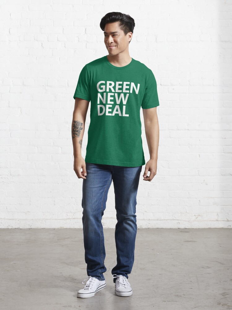 Alternate view of Green New Deal - White Text Essential T-Shirt