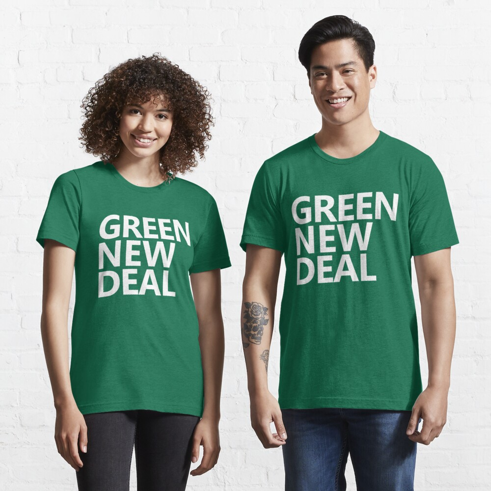 Green New Deal - White Text Essential T-Shirt