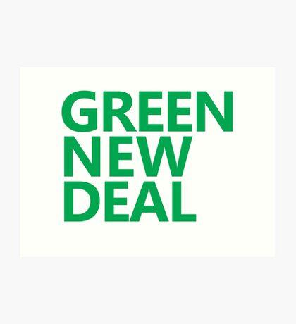 Green New Deal - Green Text Art Print