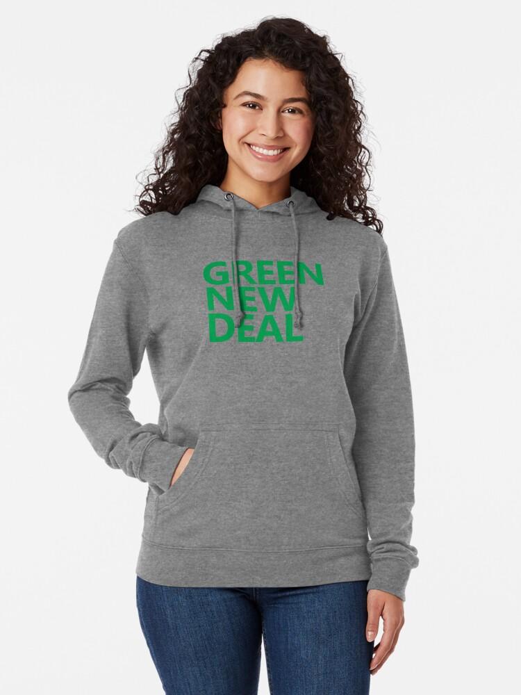 Alternate view of Green New Deal - Green Text Lightweight Hoodie