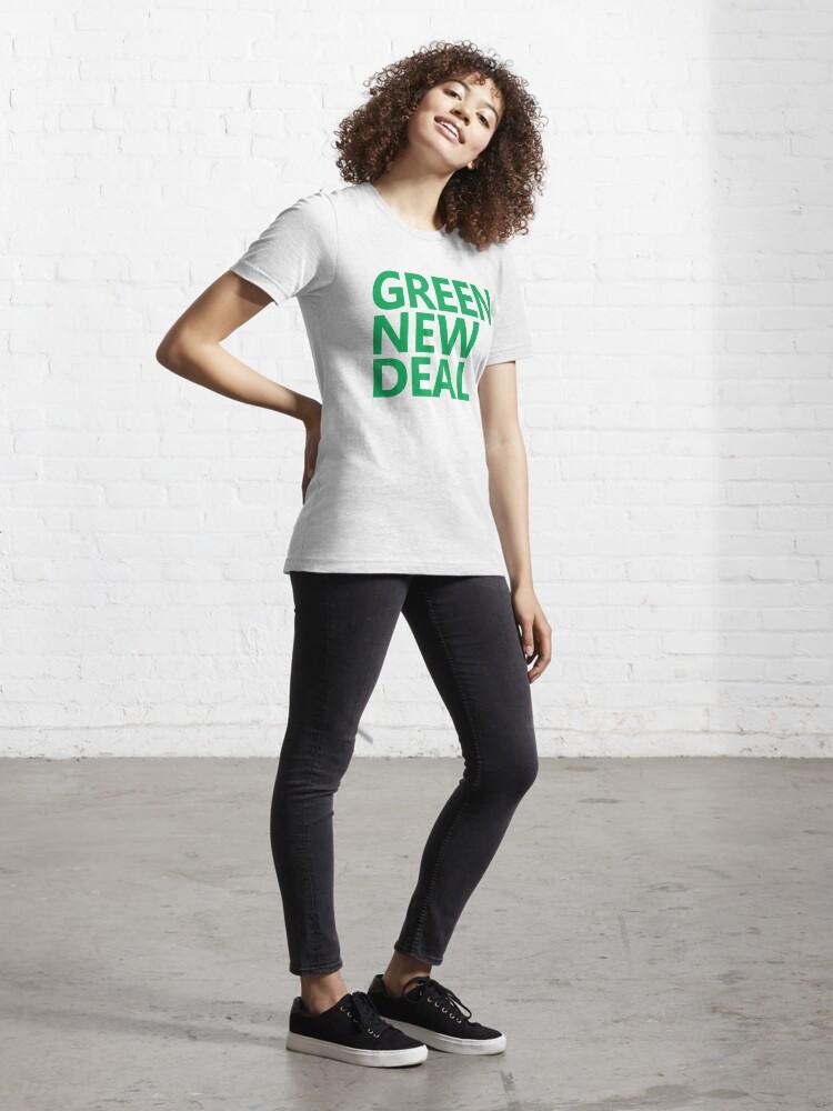 Alternate view of Green New Deal - Green Text Essential T-Shirt