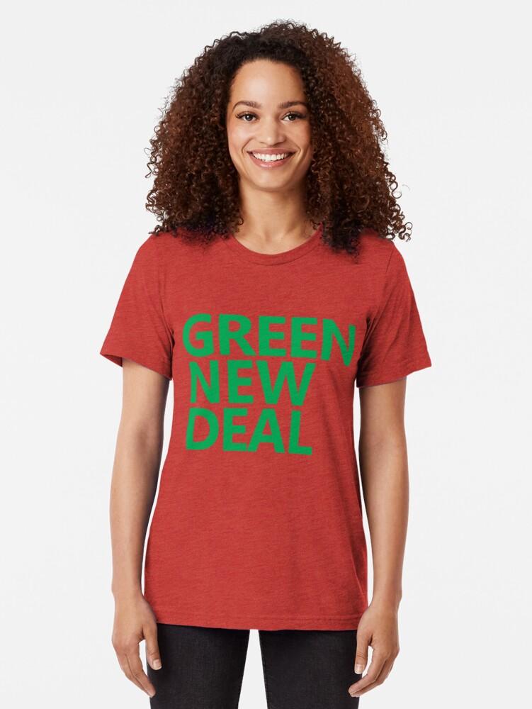 Alternate view of Green New Deal - Green Text Tri-blend T-Shirt