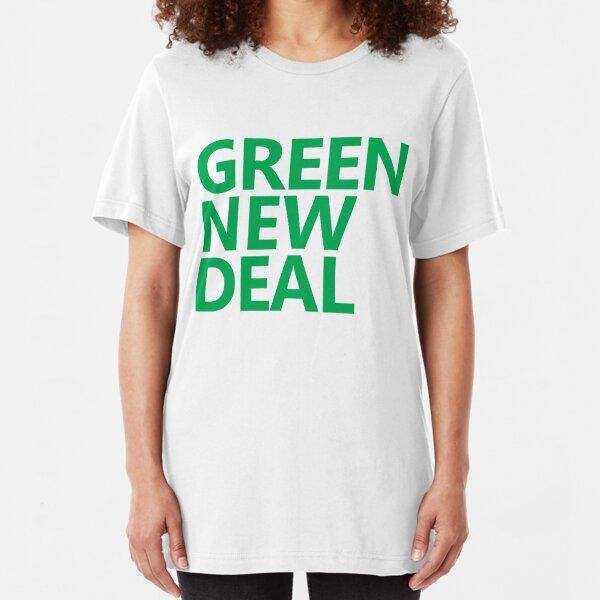 Green New Deal - Green Text Slim Fit T-Shirt