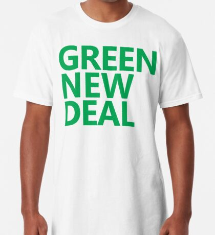 Green New Deal - Green Text Long T-Shirt