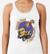 RDTN Squirrel on a Lawn Mower Racerback Tank Top