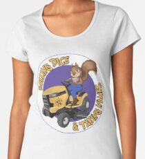 RDTN Squirrel on a Lawn Mower Premium Scoop T-Shirt