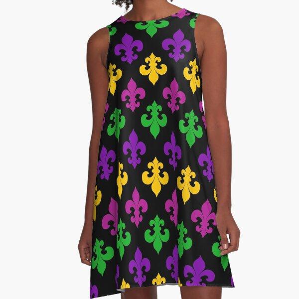 Mardi Gras Pattern A-Line Dress