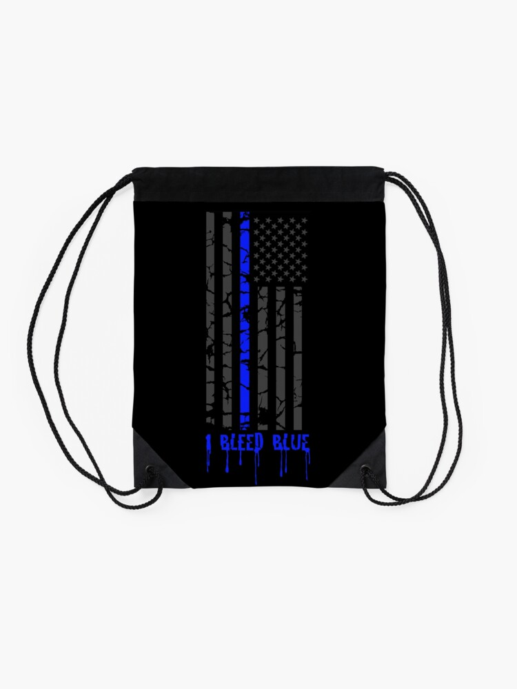 Alternate view of Thin Blue Line - I Bleed Blue Drawstring Bag