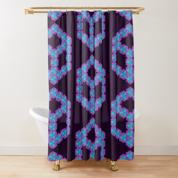 Cubey Hexa Cubes of Very Many Fuzzy Puzzle Cubes Shower Curtain