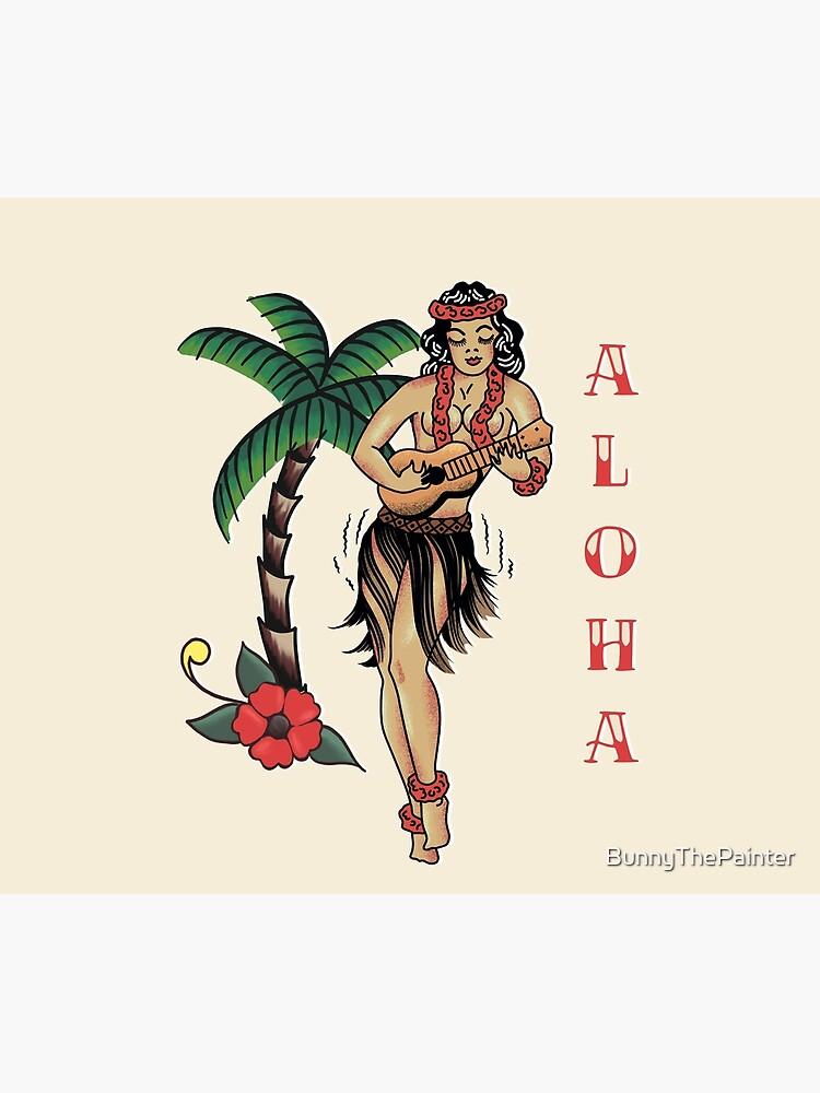 Jerry Style Traditional Aloha Hula Pinup Girl In Hawaii  by BunnyThePainter