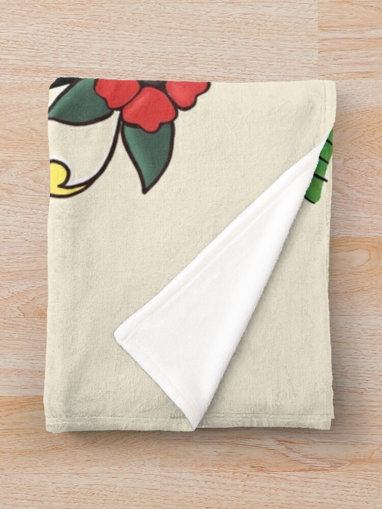 Alternate view of Jerry Style Traditional Aloha Hula Pinup Girl In Hawaii  Throw Blanket
