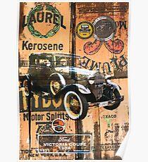 Vintage automobile montage. Poster