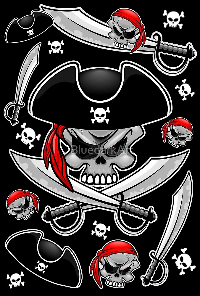 Skull Pirate Captain with Crossed Sabers  by BluedarkArt
