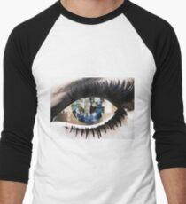 Eye with New York City Reflection Men's Baseball ¾ T-Shirt