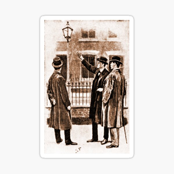 Sherlock Holmes Six Napoleons Lamp post Sticker