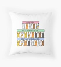 Cats celebrating birthdays on July 20th Throw Pillow