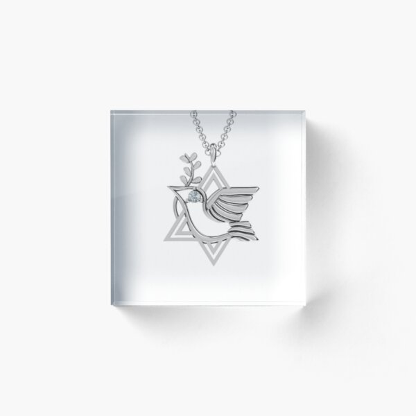 Jewish,  Locket is a pendant that opens to reveal a space used for storing a photograph or other small item such as a lock of hair Acrylic Block