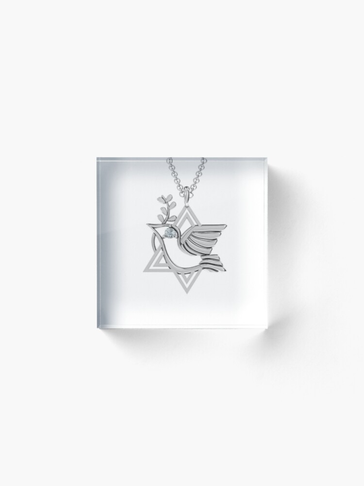 Alternate view of Locket is a pendant that opens to reveal a space used for storing a photograph or other small item such as a lock of hair Acrylic Block