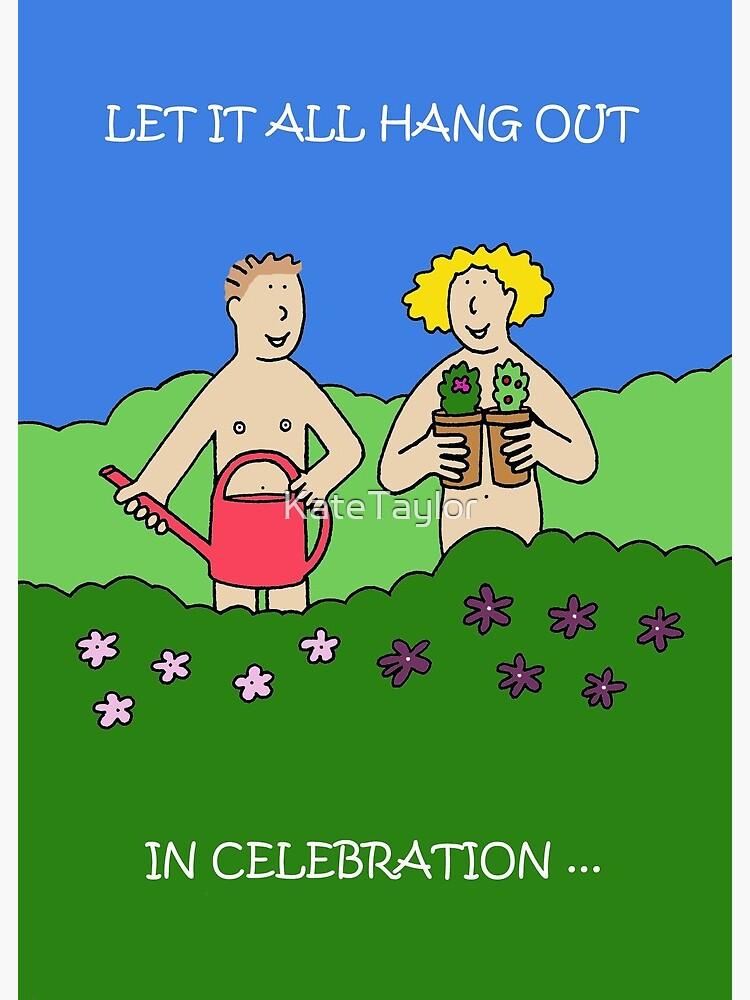 World Naked Gardening Day May Cartoon Couple Gardening Greeting Card By Katetaylor Redbubble
