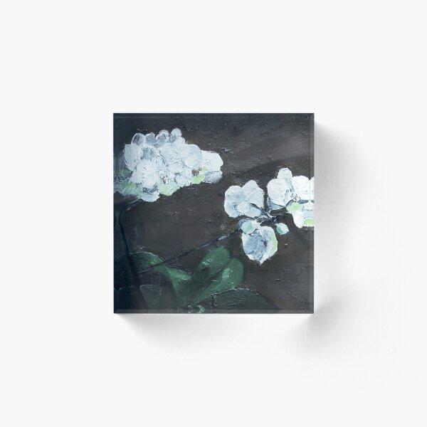 Nature - White Orchid (Dark) Acrylic Block