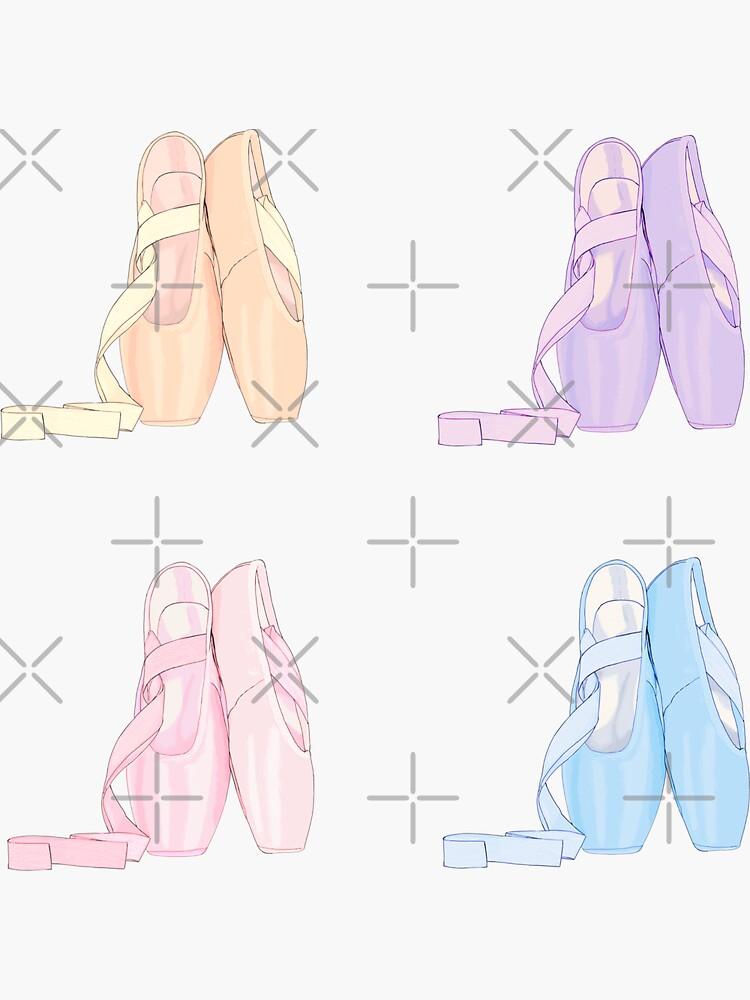 Four pack pastel stickers Pointe shoes  by MimieTrouvetou